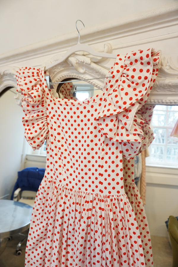 Small Late 70's Red Polka Dot Ruffle Dress