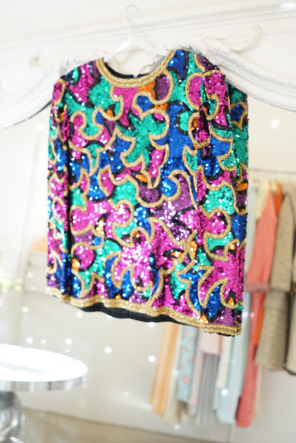 Large Mardi Gras Wild Sequin Top