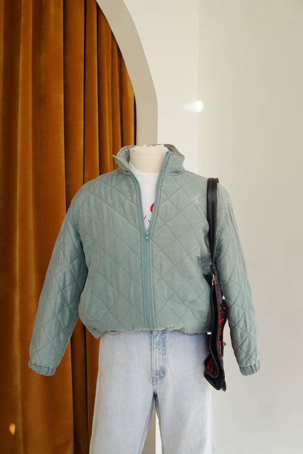 Small Muted Silk Quilted Bomber