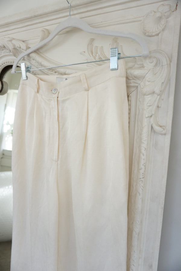 6P Cream Silk & Linen Trouser