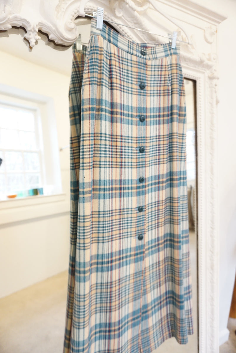 Small 60's Blue Fully Length Blue Holiday Skirt