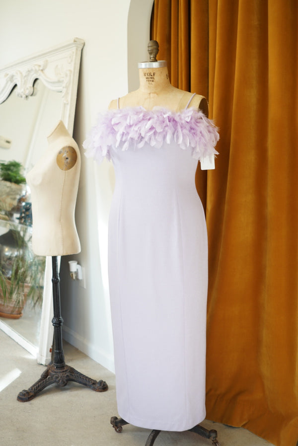 XL Lilac Feathered Showgirl Midi