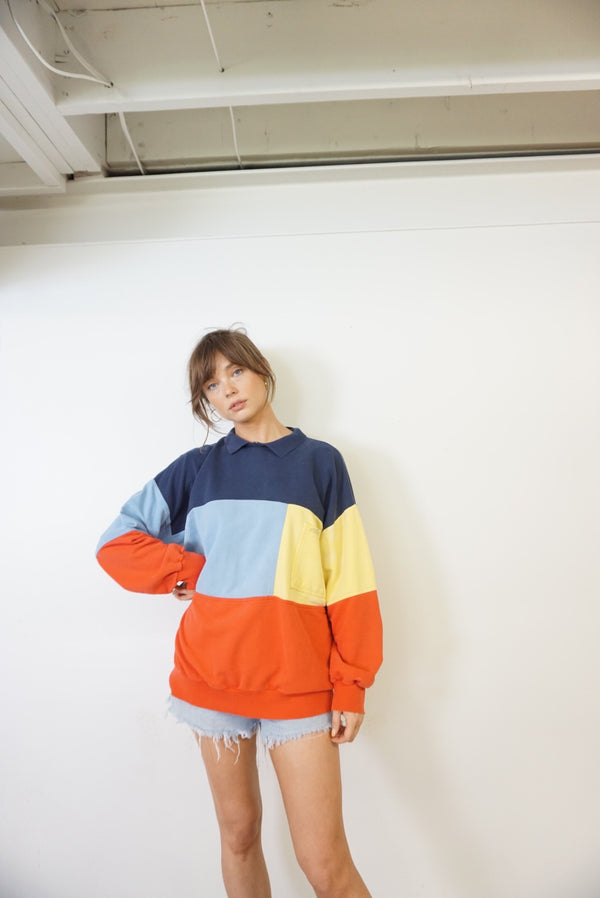 Large/XL Color Block Sweatshirt 90s Coastal