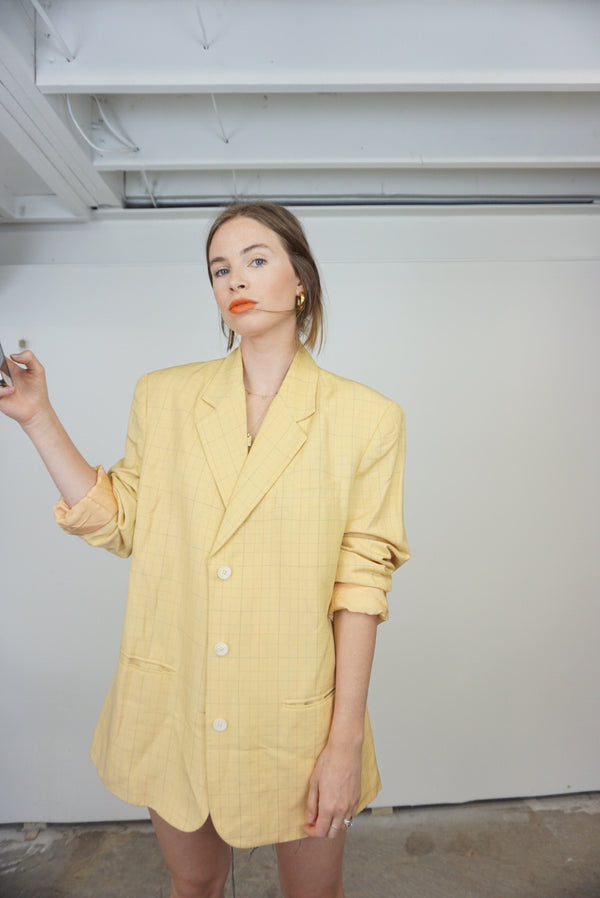 Oversized Yellow Linen Blend Blazer Vintage Gap