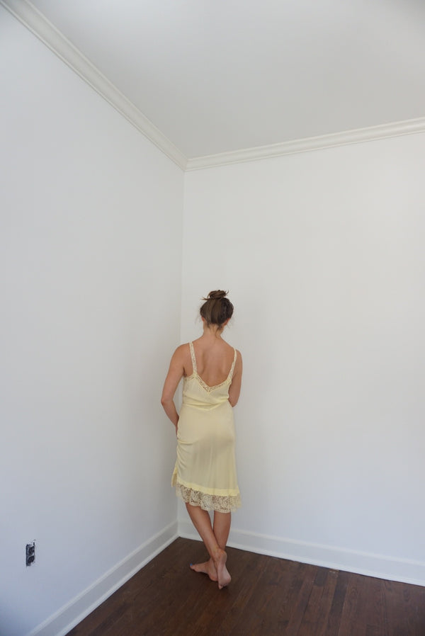 Small Rare Rayon Butter Yellow Slip Dress