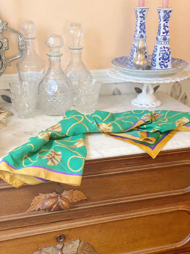 Green and Gold Tassel Scarf