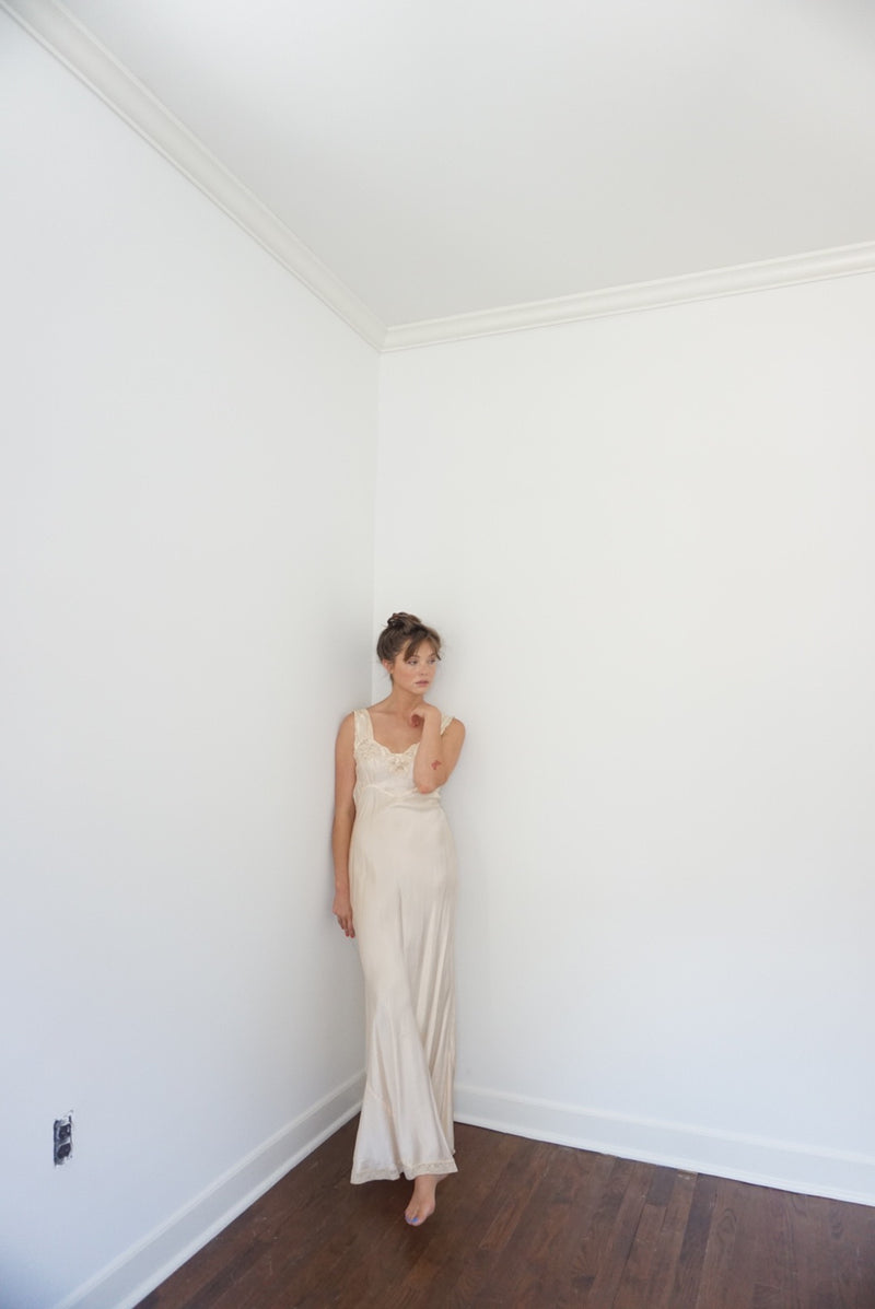 XS/Small Blush Silk Slip Dress 40s