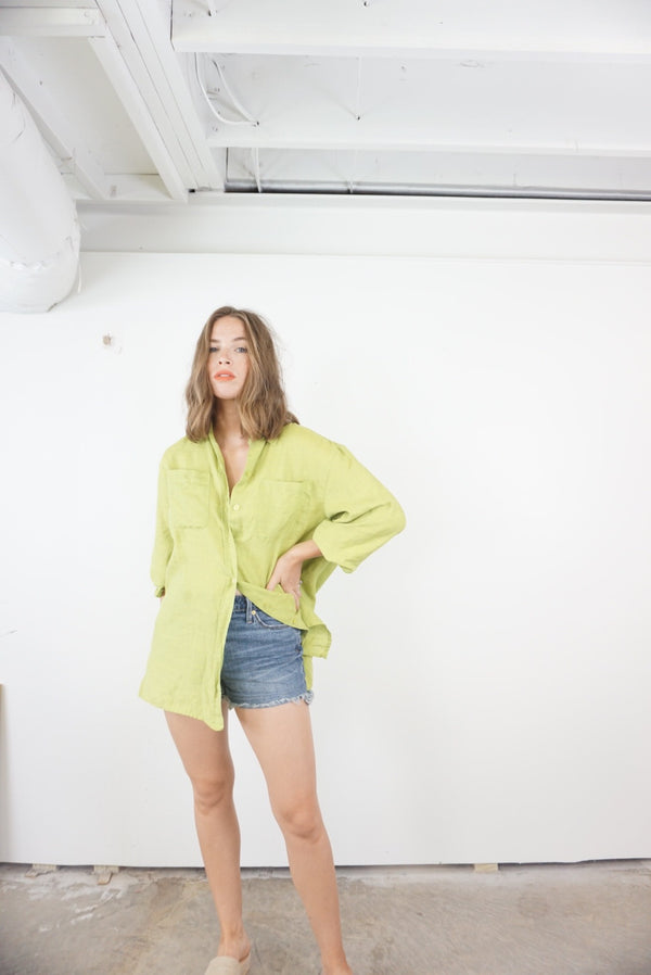 Oversized 100% Linen Lime Top