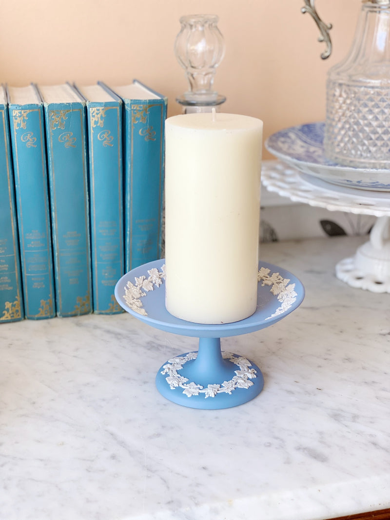 Vintage Blue Pedestal Candle Holder