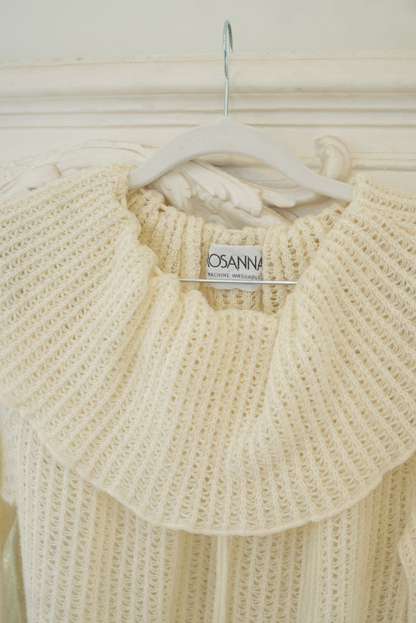 Medium Rosanna Cream Knit Oversized Ruffle