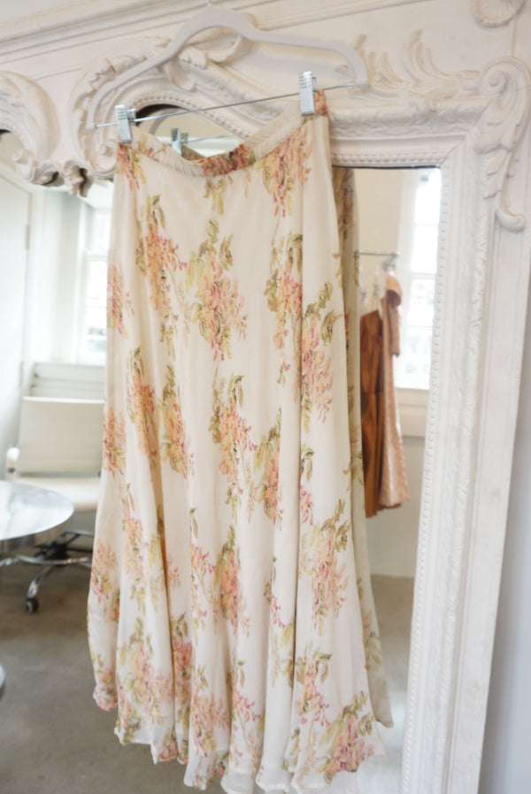 Medium Floral Creamy Silk Skirt