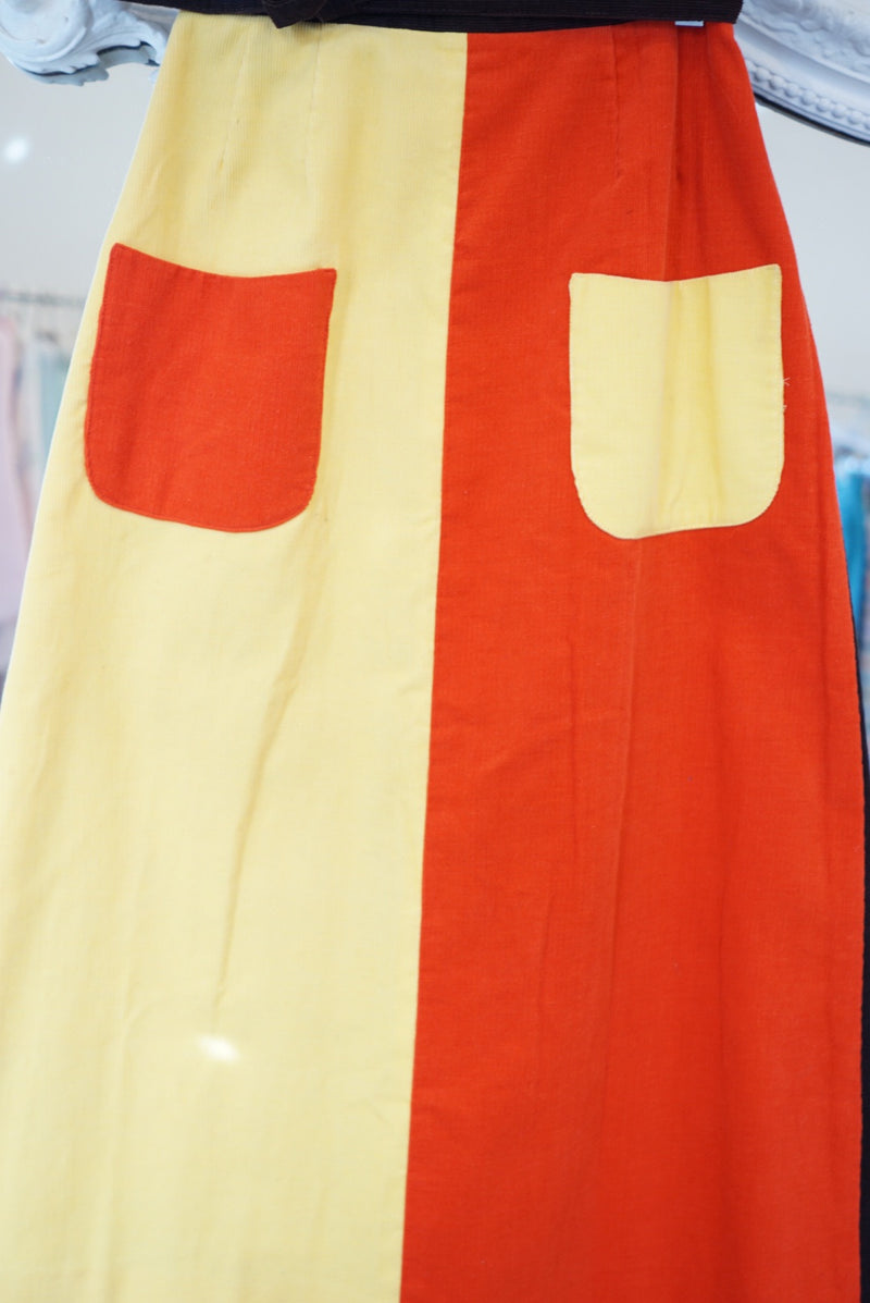 Sz.26 70's Color Block Midi Wrap Skirt