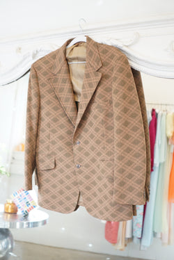 Large 70's Green & Tan Tartan Blazer