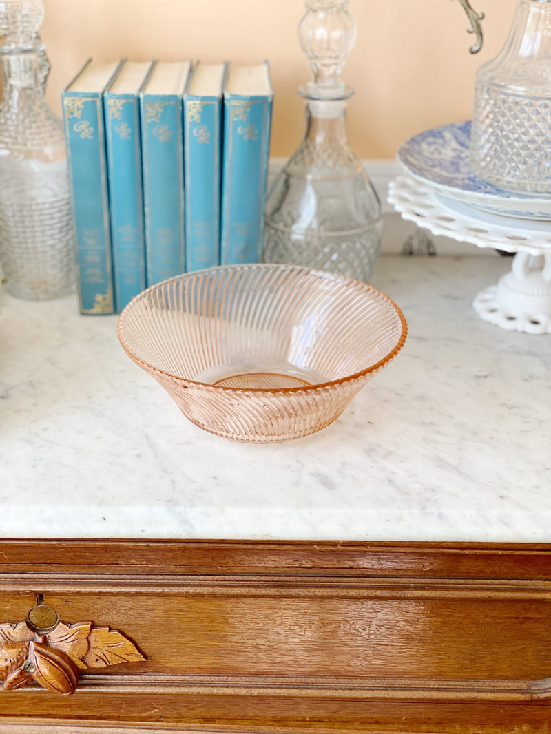 Pink Ribbed Serving Dish