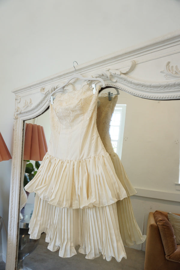 Pleated Layered Ivory Dress