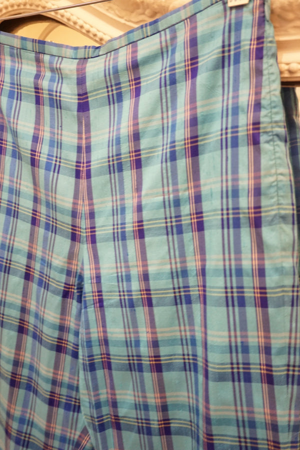 Small Blue Plaid Silk Hot Pant