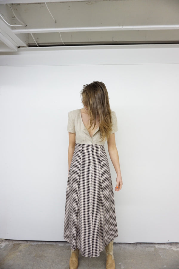 Small Linen & Gingham Dress 90's Perfection