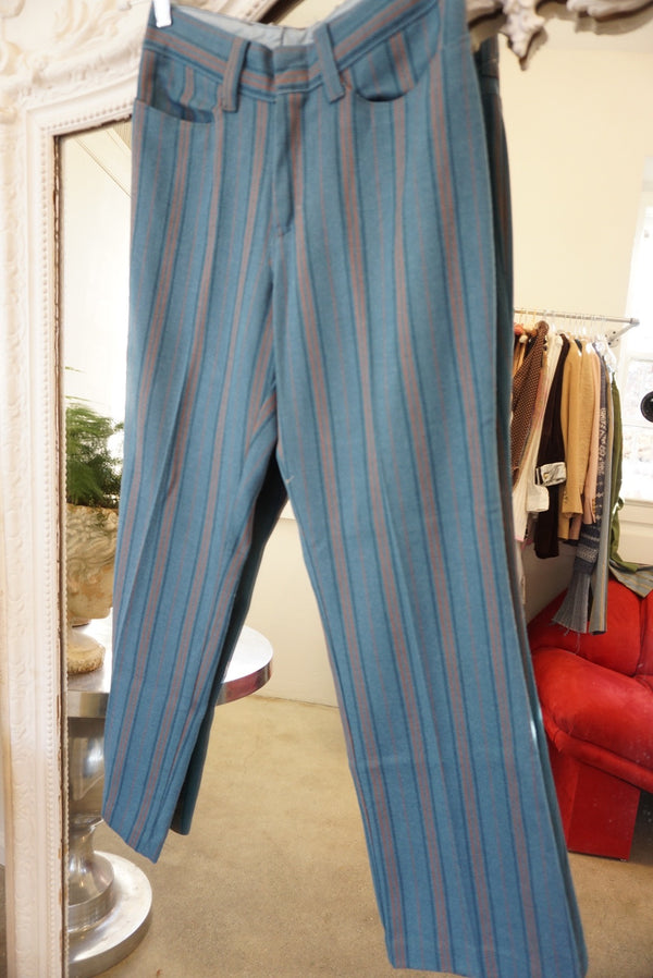 "Waist 28"" Blueberry Striped Trouser"