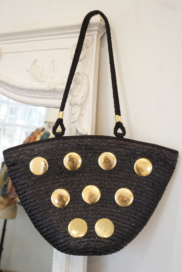 Black Straw Embellished Tote