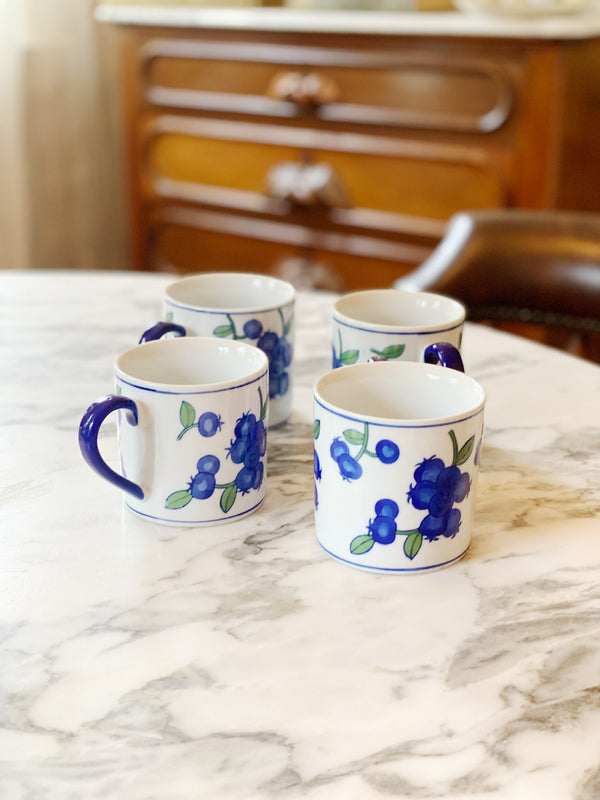 Blueberries and Cream Coffee Mug Set