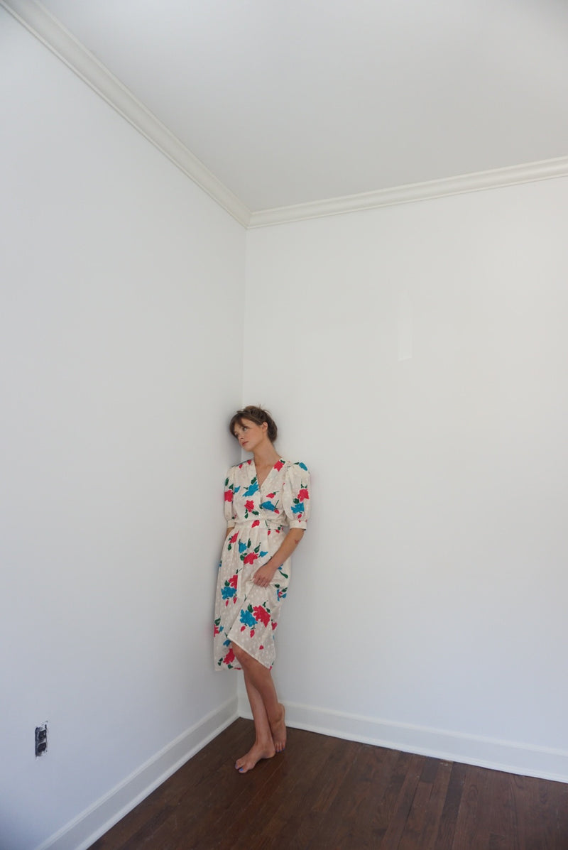Small Silk Floral Printed Wrap Dress