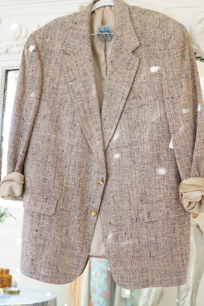 XL 80's Menswear Purple Speckle Silk Blazer