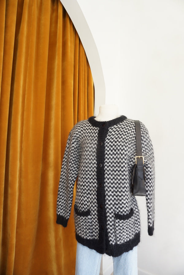Large Mohair Houndstooth Chunky Cardi