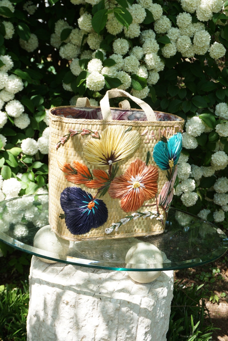 Floral Straw Tote