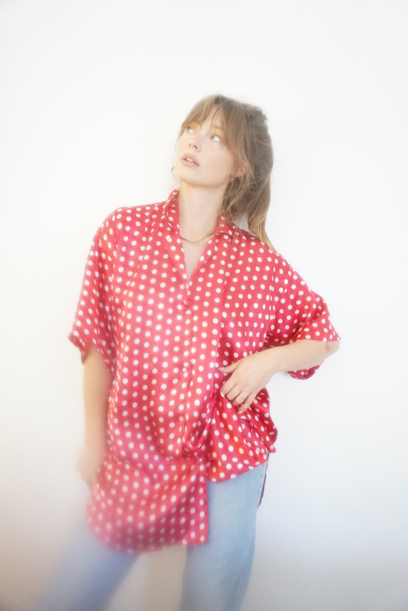 XL Silky Berry Polka Dot Top
