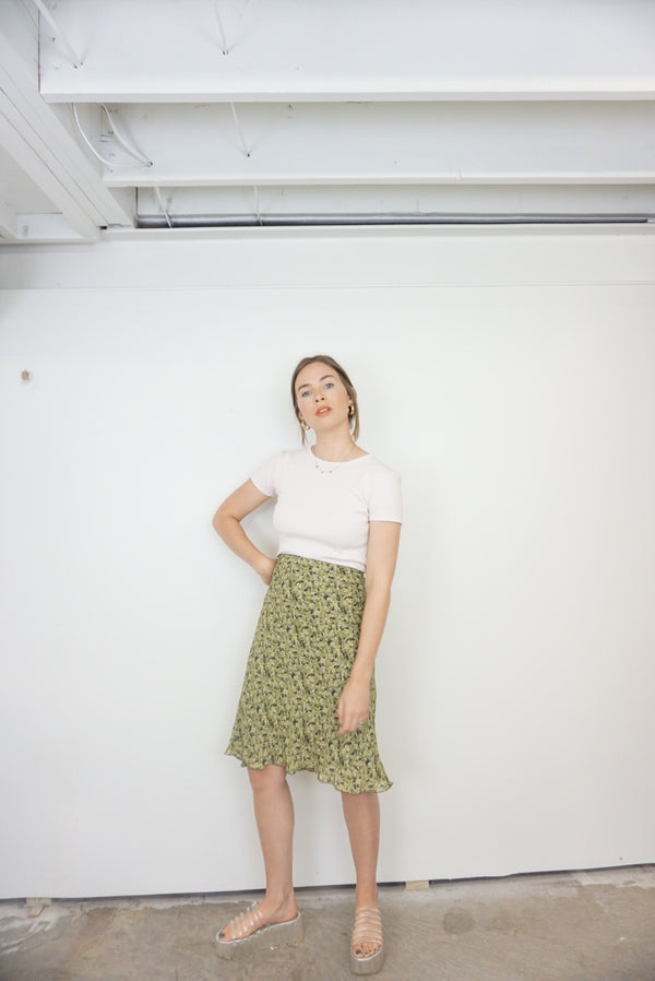 Medium/Large Green Floral Skirt