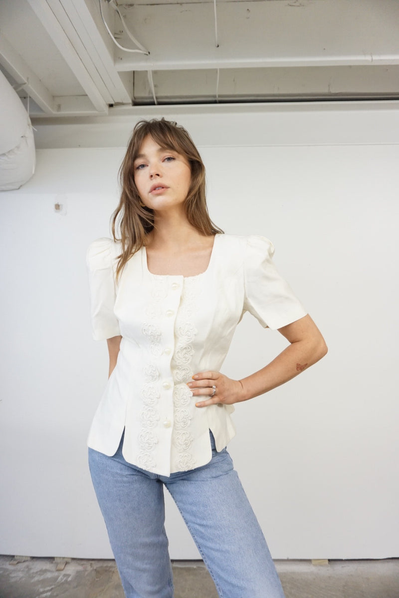 Large 90s Fab Shoulder Pad Blouse