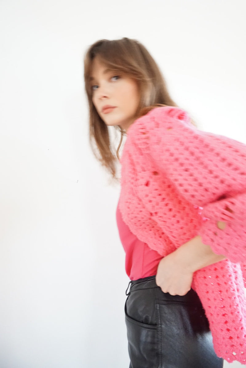 Large Hot Pink Granny Knit