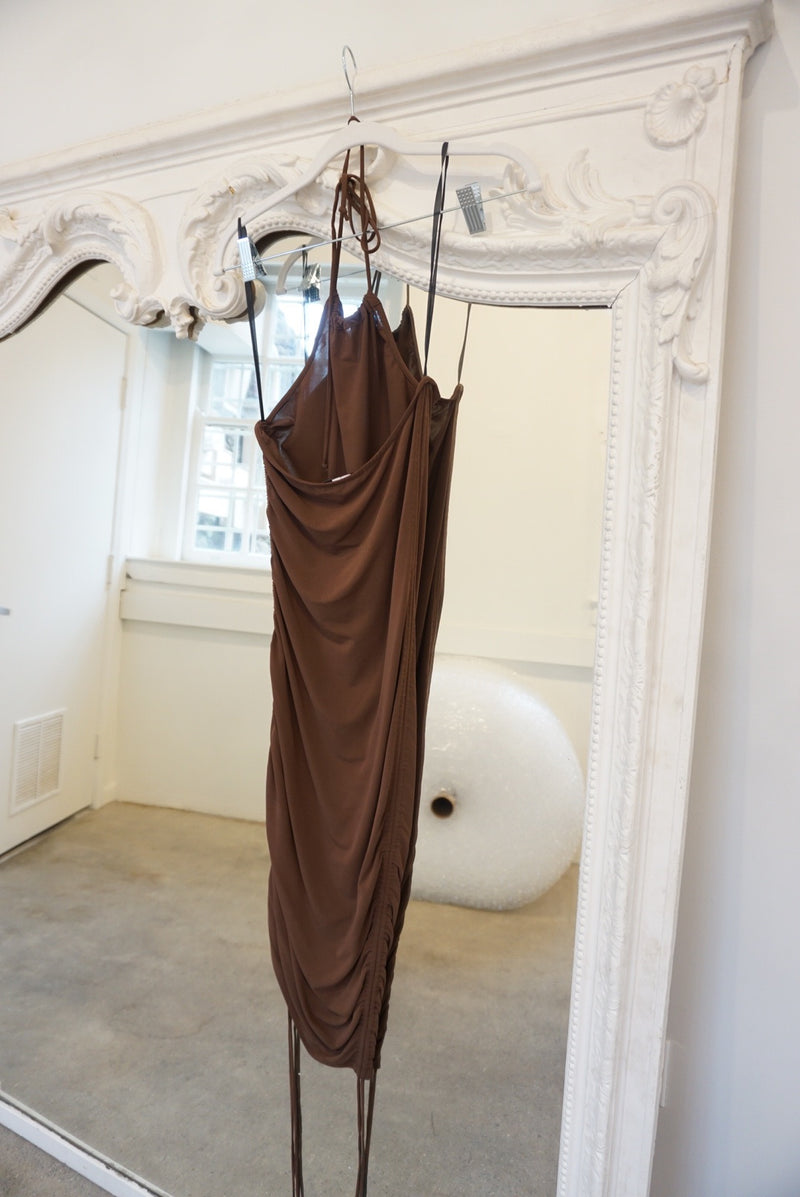 Extra Small/Small Michael Kors Chocolate Slinky Rouched Hips Dress