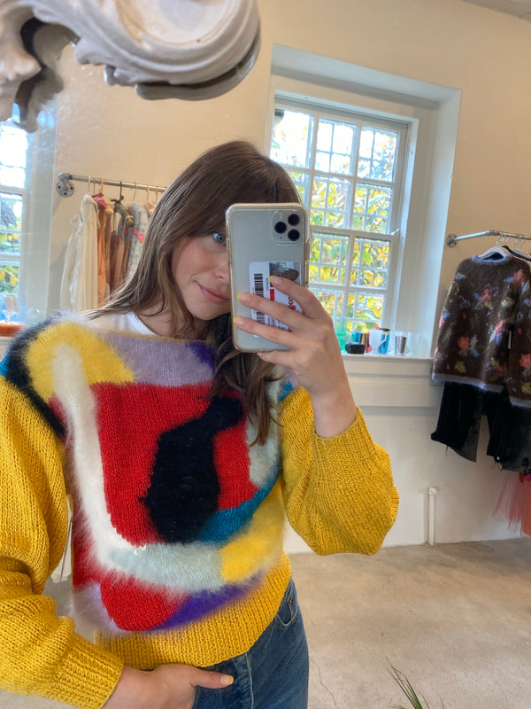 Small 80's Surrealist Angora Sweater