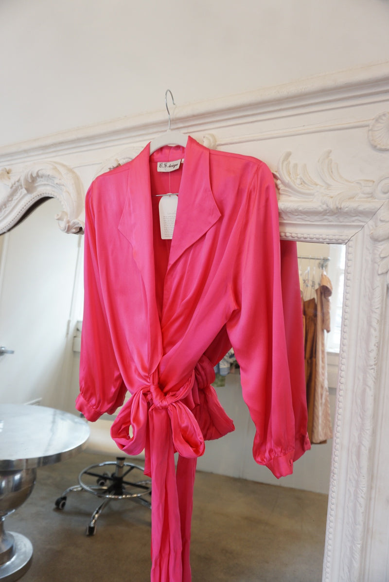 Small 80's Hot Pink Silk Wrap