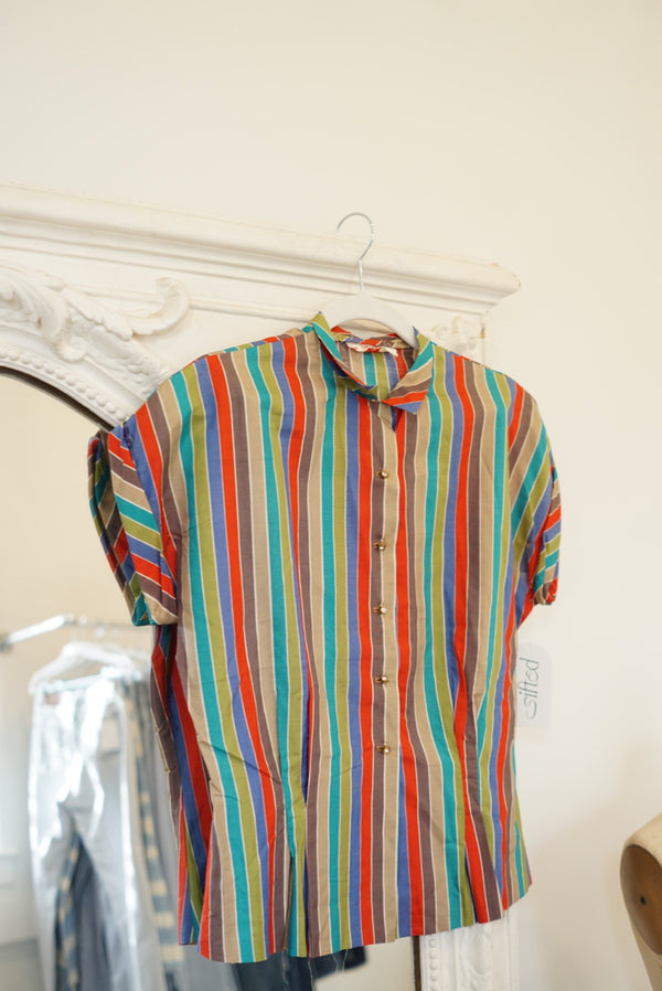 Small 50's Rhinestone Holiday Stripe Top