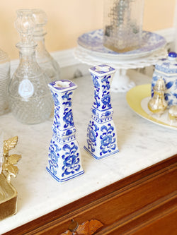 Gorgeous Blue China Candlesticks