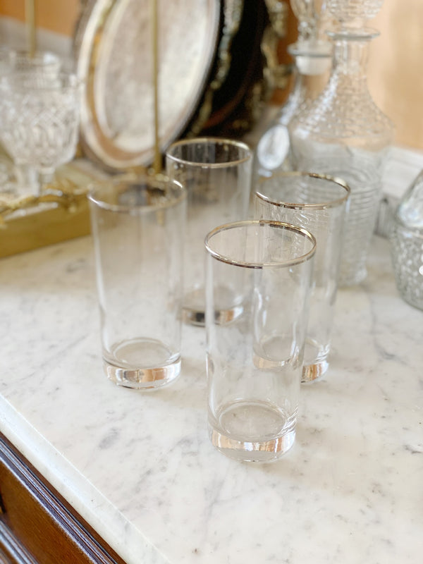 Silver Detail Highball Glasses