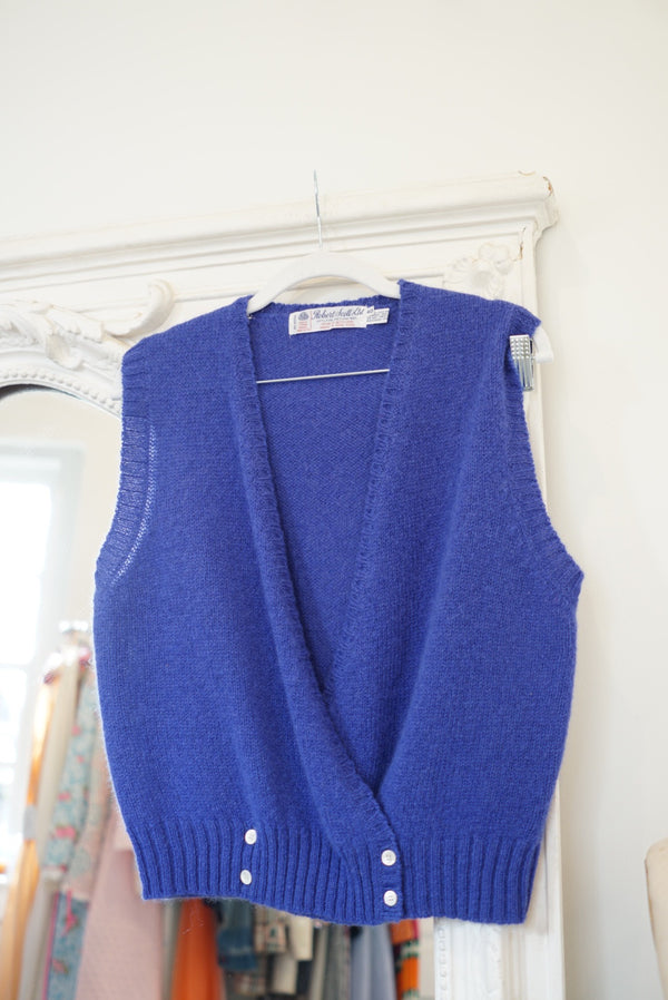 80's Wool Blueberry Sweatervest