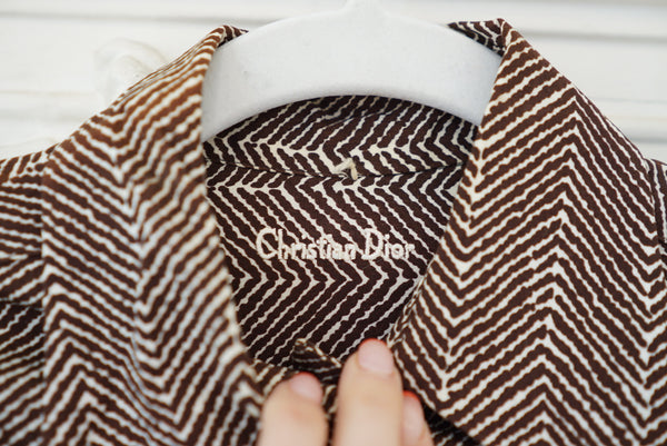 Small Late 70's Dior Chocolate Chevron Blouse