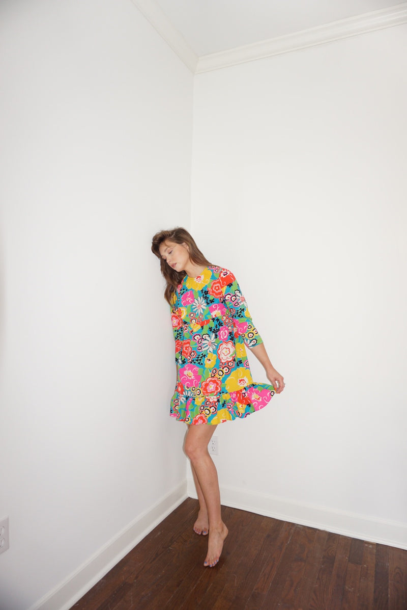 XS 70s Bright Floral Mini with Ruffle
