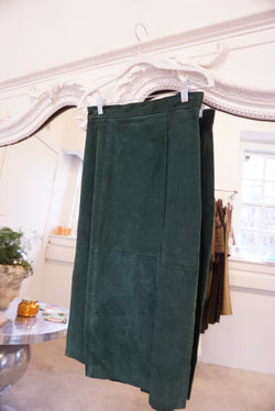 Small Green Suede Midi Skirt