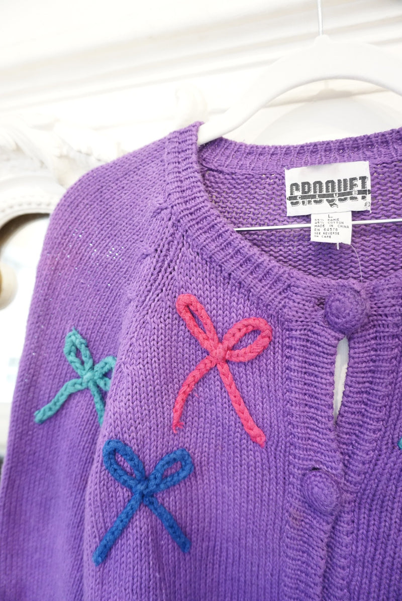 Large Purple multi colored Bow Cardigan