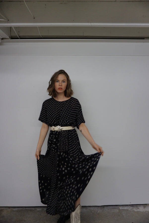 Medium Black Patterned Prairie Dress
