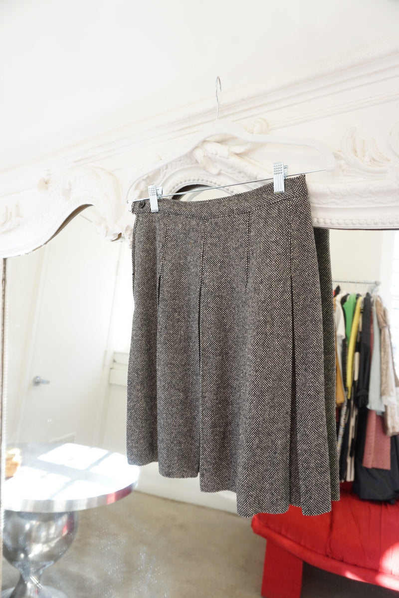 Small 60's Wool Pleated Skirt Speckle