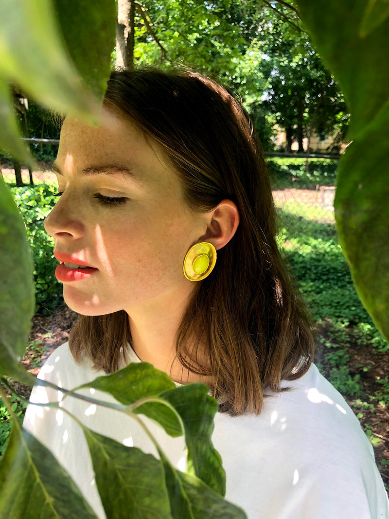 Brushed Gold and Lemon Clip On Earrings