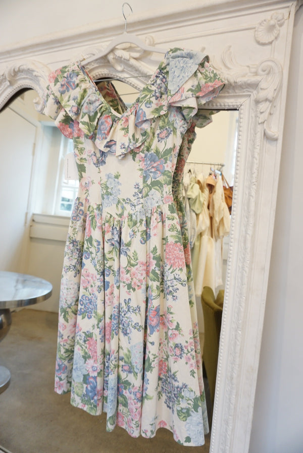 Small 80's Floral Ruffle Midi Dress With Pockets