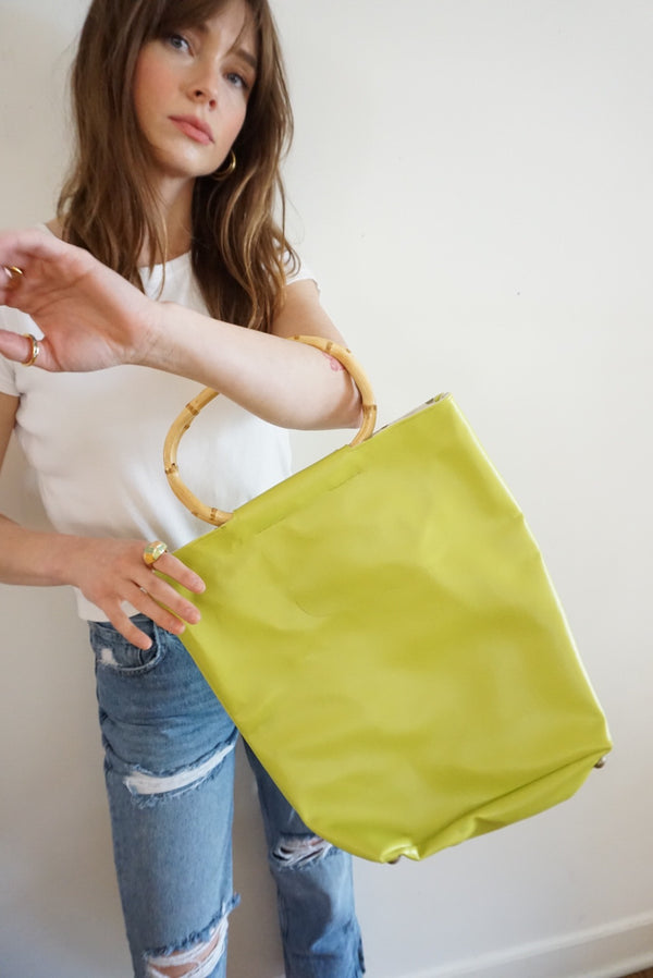 Lime Green Bamboo Handle Handbag