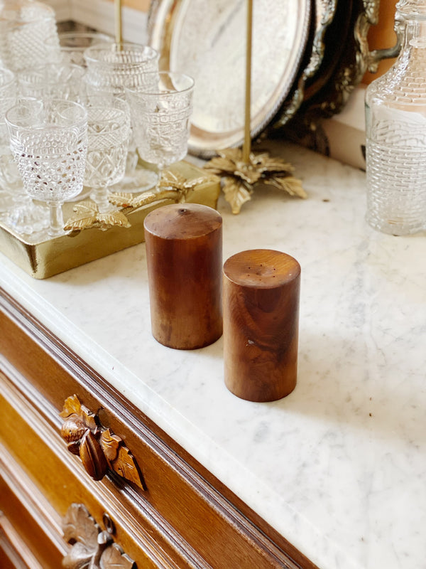 Vintage Wood Salt and Pepper Shaker
