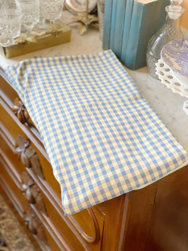 Baby Blue Check Round Tablecloth
